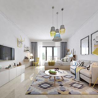 单身公寓客厅整体模型
