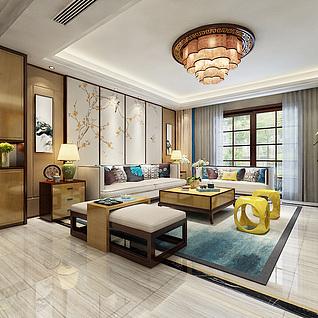 新中式客厅餐厅整体模型