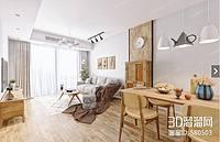 木色系客厅3d模型