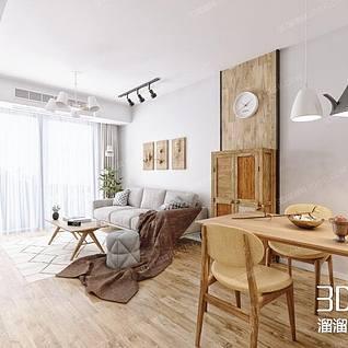 木色系客厅整体模型