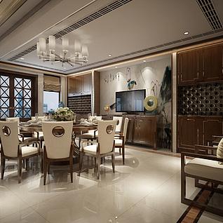 新中式厨房餐厅客厅整体模型