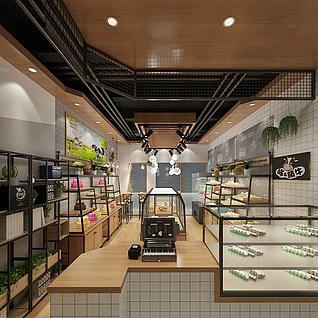 烘焙店面包店整体模型