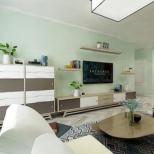 现代简约客厅餐厅卧室整体模型