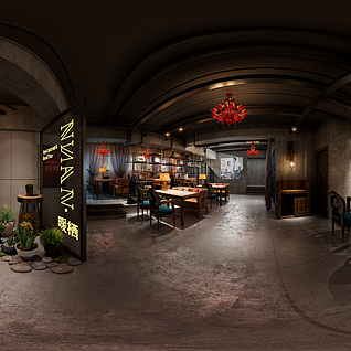 工业风餐厅全景整体模型