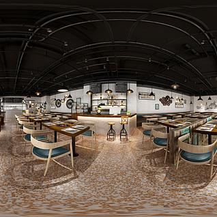 现代餐厅全景整体模型