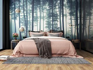 北欧现代森林系卧室3d模型