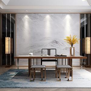 新中式现代书房3d模型