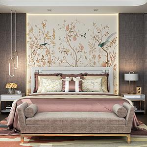 新中式时尚卧室3d模型
