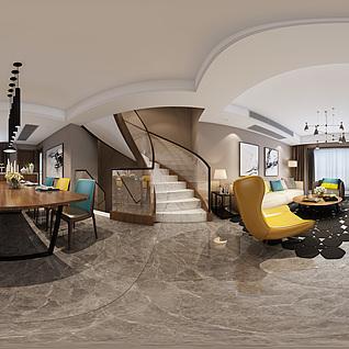 现代客餐厅全景整体模型