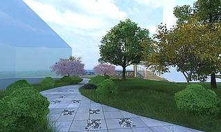 景观欧式凉亭林间小路3d模型