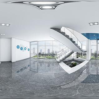 现代办公接待区全景模型整体模型