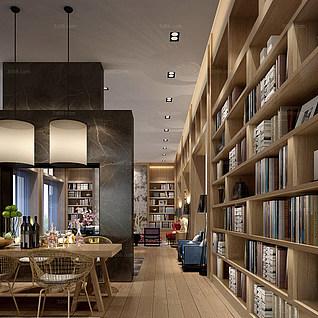 图书馆阅览室整体模型