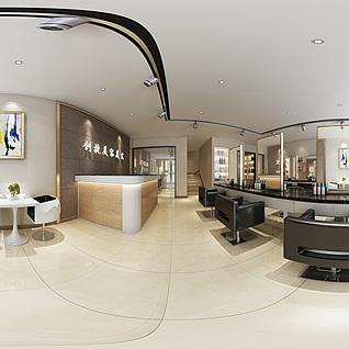 现代美容美发店全景模型整体模型
