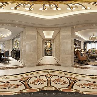 欧式客餐厅全景模型整体模型