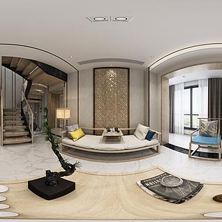 新中式客厅全景模型整体模型