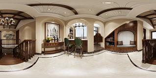 美式楼梯间全景模型3d模型