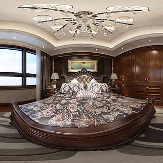 欧式卧室全景模型3d模型