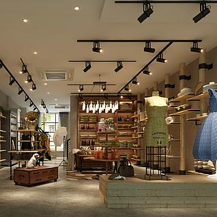 工业风服装店3d模型