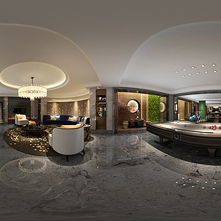中式别墅娱乐室全景模型整体模型