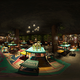 混搭餐厅全景模型整体模型