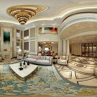 美式客餐厅全景模型整体模型