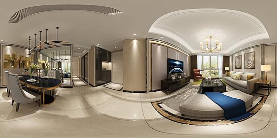 新古典客餐厅全景模型3d模型