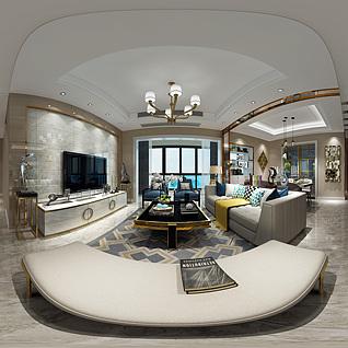 新古典客餐厅全景模型整体模型