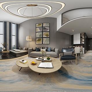 现代客厅复式全景模型3d模型