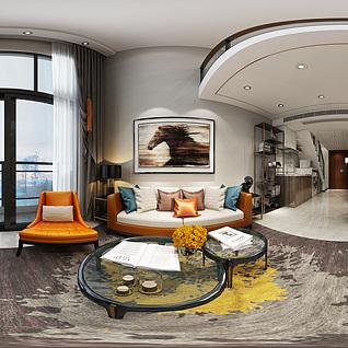 现代复式客厅全景模型整体模型