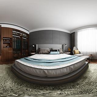 现代卧室全景模型整体模型