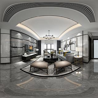 现代客餐厅全景模型整体模型