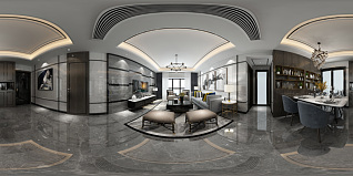 现代客餐厅全景模型3d模型