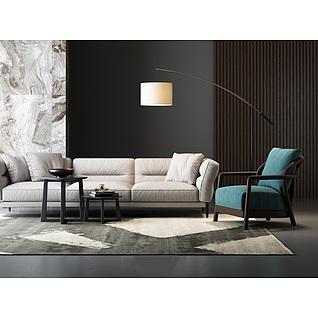 现代装饰沙发组合家装模型