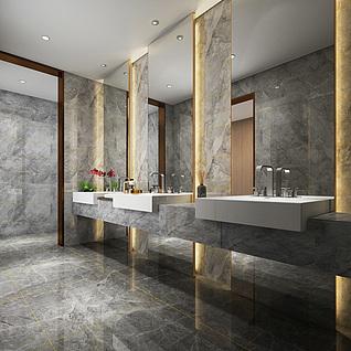 现代售楼处卫生间洗手台整体模型