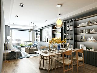 北欧风格客厅家装3d模型