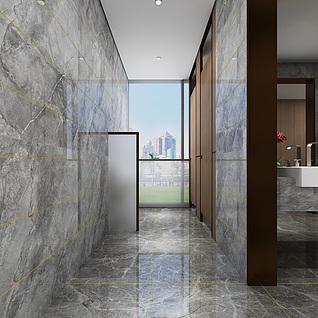 现代售楼处卫生间整体模型
