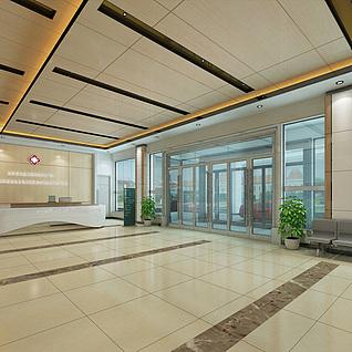 现代医院大厅整体模型