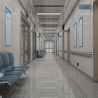 现代医院走廊整体模型