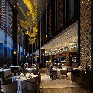 酒店大厅整体模型
