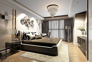 现代风格主卧室家装3d模型