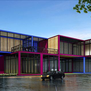 集装箱办公室楼设计整体模型