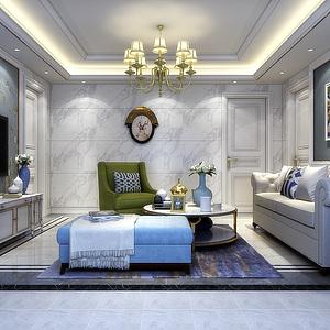 歐式客廳設計3d模型