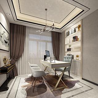 现代风格书房组合3d模型