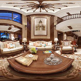 美式客厅全景模型整体模型