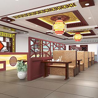 现代中式餐厅大堂整体模型