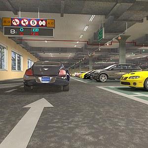 超级宽敞明亮地下车库场景3d模型