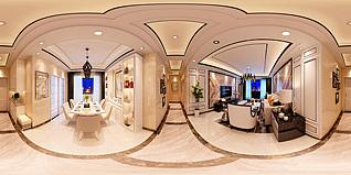 奢华客餐厅全景3d模型