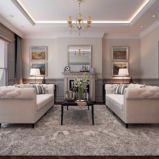 简美风格客厅3d模型