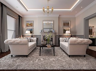 简美风格客厅家装3d模型