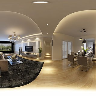 轻奢现代家装整体模型